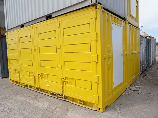 Yellow 20ft side opening containers DG for sale Brisbane
